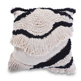 fringed black and white pillow