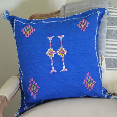 Blue Tasseled Sabra Cushion Cover