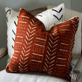 White Arrow Mudcloth Pillow