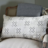 White Lumbar Mudcloth Pillow