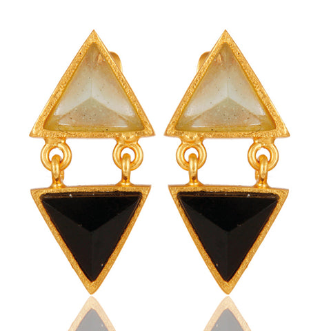 Emilia Moonstone & Onyx Triangle Earrings
