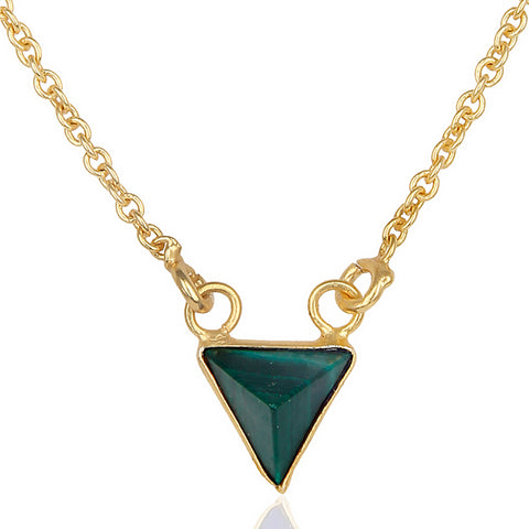 Clio Malachite Triangle Necklace