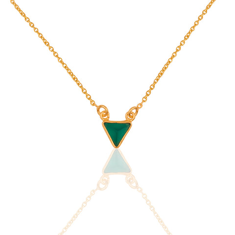 Clio Green Onyx Triangle Necklace