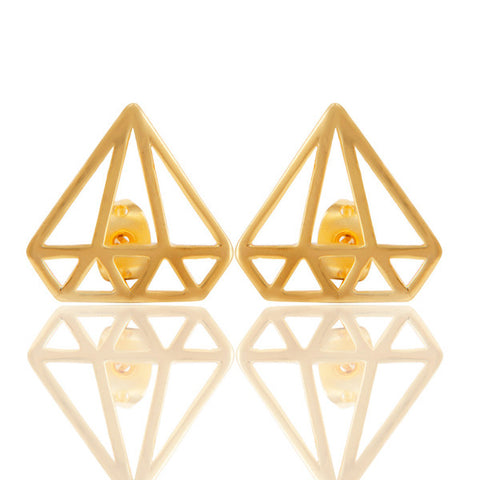 Diamond Outline Gold Stud Earrings