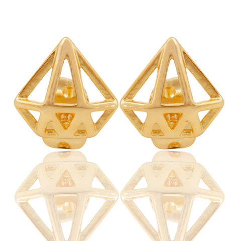 3D Diamond Stud Earrings