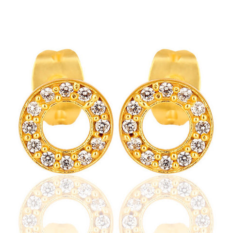 diamonte circle earrings