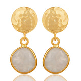 Gold Moonstone Disc Drop Earrings