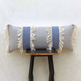 blue fringed cushion