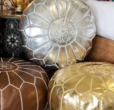 Gold Moroccan Vegan Leather Pouffe
