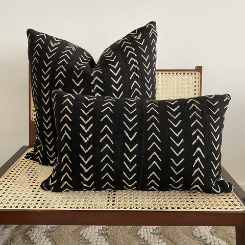 black arrow mudcloth cushion
