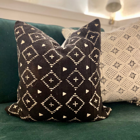 Black Diamond Mudcloth Pillow