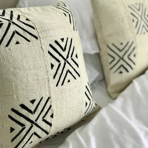 Starburst White Mudcloth Pillow
