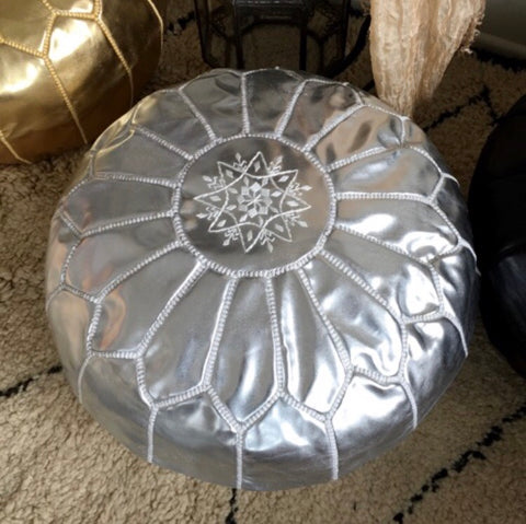 Silver Moroccan Vegan Leather Pouffe