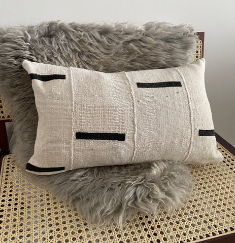 Lines White Mudcloth Pillow