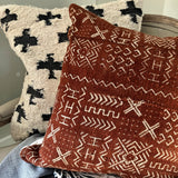Rust Patterned Mudcloth Pillow