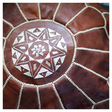 Moroccan Leather Pouffe/ Pouf - Dark Tan