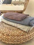 Large Herringbone Cotton Throw