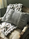 Alia Grey Tassel Cushion Cover