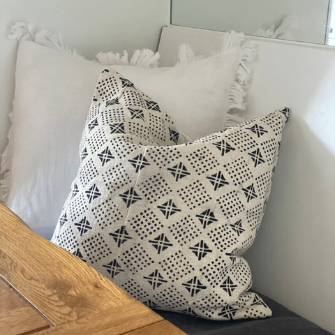 White Diamond Mudcloth Pillow