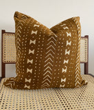 Ochre Drum Mudcloth Pillow