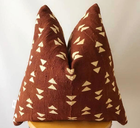 Rust Arrow Mudcloth Cushion
