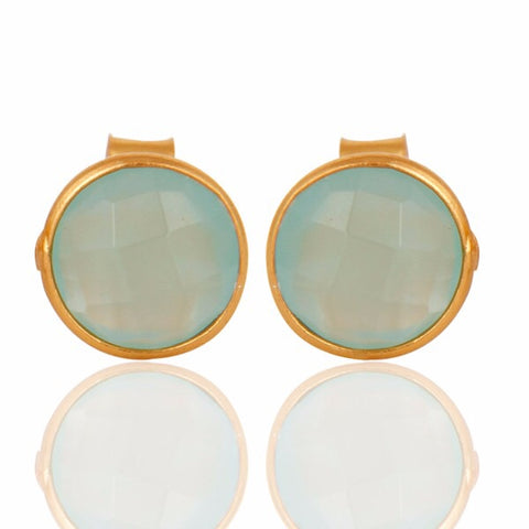 Livia Gold & Aqua Chalcedony Earrings