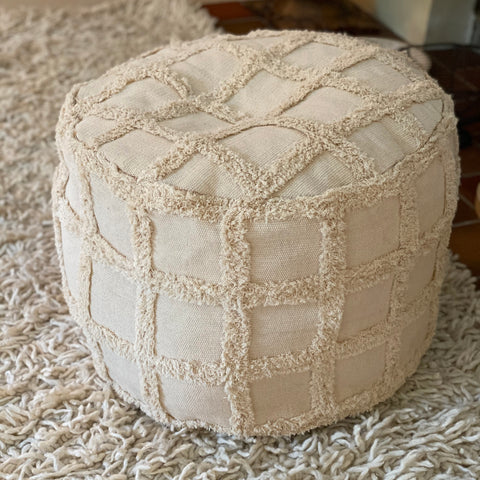 fringed cotton pouf