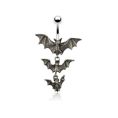 """Lothaire"" - Bats 14G Dangle Navel Ring - OMGoth - My Gothic Shop"