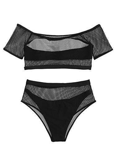 """Avelina"" - Sexy Off Shoulder Fishnet Bathing Suite Bikini Set"