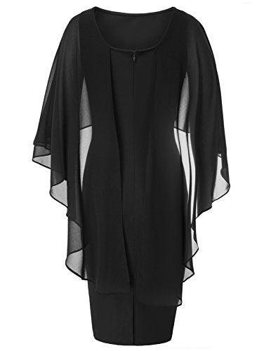 """Shabriri"" - Batwing Cape Bodycon Pencil Dress - OMGoth - My Gothic Shop"