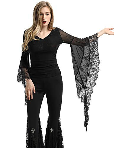 """Althea"" - Gothic V-Neck Top with Long Bell Sleeves - OMGoth - My Gothic Shop"