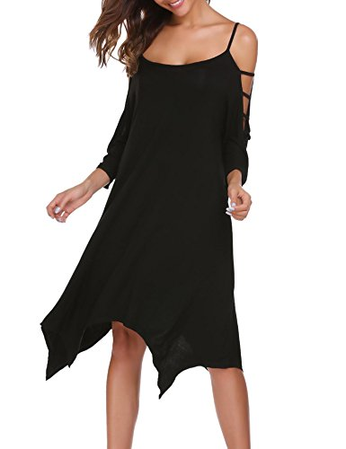 """Melantha"" - Cold Shoulder Loose T-Shirt Dress"