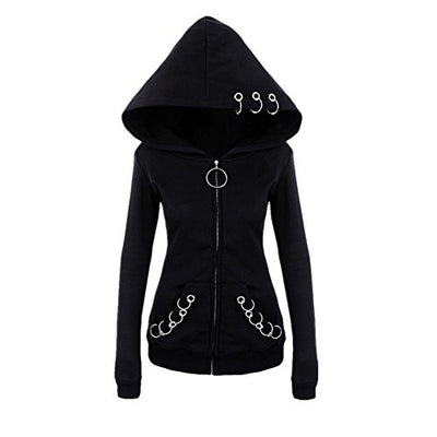 """Lisha"" - O-Ring Zip up Hoodie - OMGoth - My Gothic Shop"