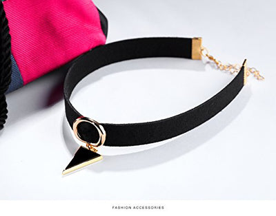 """Ennata"" - Velvet Choker Necklace with Geometric Charms - OMGoth - My Gothic Shop"