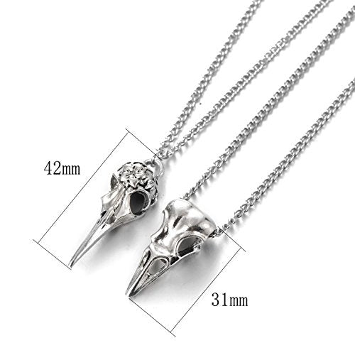 """Lethia"" - Bird Skull Necklaces Set of 2 - OMGoth - My Gothic Shop"