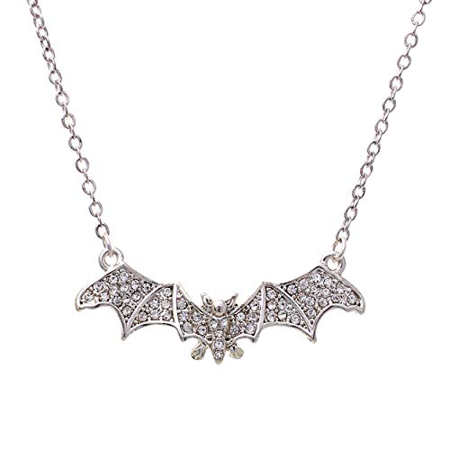 """Izora"" - Rhinestoned Bat Necklace - OMGoth - My Gothic Shop"