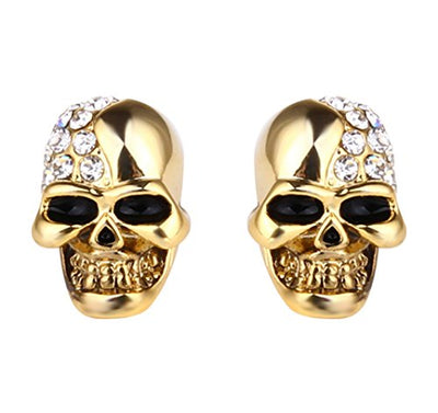 """Tanda"" - Stainless Steel & Crystal Skull Stud Earrings - OMGoth - My Gothic Shop"