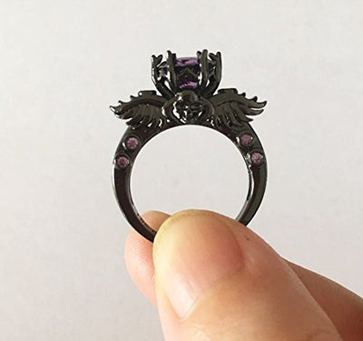 """Etienne"" - Flying Skull Black Ring with Purple Stones - OMGoth - My Gothic Shop"