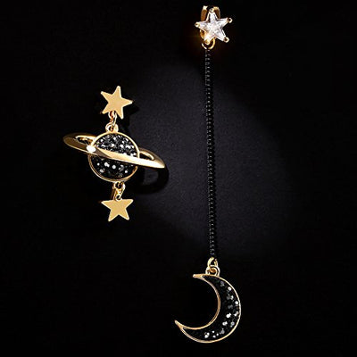 """Dannika"" - Asymmetrical Black Moon Saturn and Stars Dangle Earrings - OMGoth - My Gothic Shop"