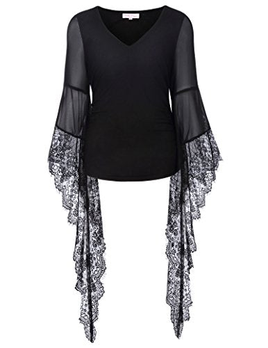 """Althea"" - Gothic V-Neck Top with Long Bell Sleeves"