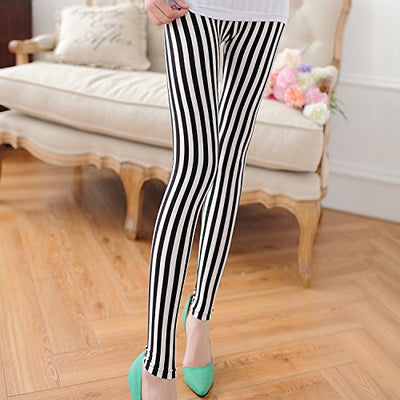 """Lydia"" - Black and White Stripped Leggings - OMGoth - My Gothic Shop"