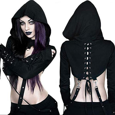 """Colletta"" - Ultimate Crop Top Bandage Hoodie - OMGoth - My Gothic Shop"