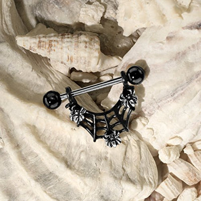"""Maira"" - Spider Web Dangle Nipple Rings - OMGoth - My Gothic Shop"