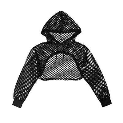 """Wren"" - Fishnet Hollow Out Crop Top Hoodie - OMGoth - My Gothic Shop"