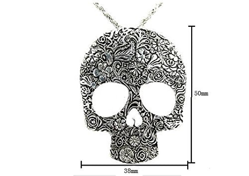 """Magena"" - Flower Pattern Skull Pendant Necklace - OMGoth - My Gothic Shop"