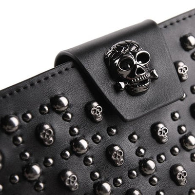 """Maeve"" - Skull Studded Leather Wallet - OMGoth - My Gothic Shop"