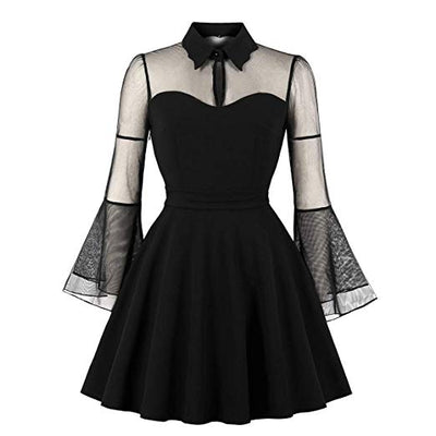 """Zella"" - Mesh Bell Sleeve Dress - OMGoth - My Gothic Shop"
