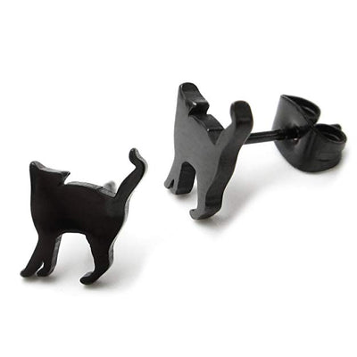 """Dabria"" - Black Cat Stud Earrings - OMGoth - My Gothic Shop"