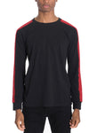 """Emery"" - Side Stripe Long Sleeve Shirt - BLACK/RED"