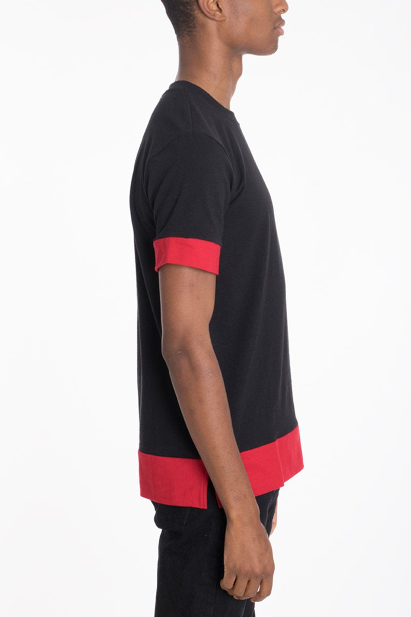 """Ambrose"" - Two Tone Tee - BLACK/RED"
